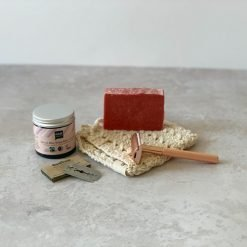 Barber-kit med safety razor, barbersæbe, barberblade og aftershave