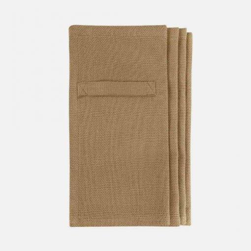 Hverdags servietter i økologisk bomuld i khaki
