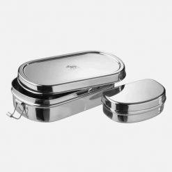 Oval madkasse i stål med snackboks