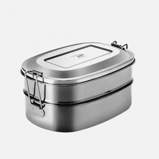Oval madkasse i stål med to lag