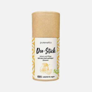 Naturlig deodorant stick fra Puremetics med en frisk duft af citron