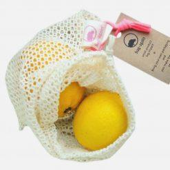 Lille netpose i økologisk bomuld til frugt og grønt