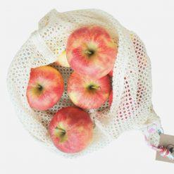 Stor netpose til frugt og grønt i økologisk bomuld